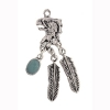 Pendant Small Eagle Head With 2 Feather 1 Turquoise Stone Drop Antique silver
